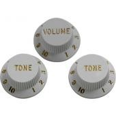 FENDER KNOBS STRAT WHITE TONE/VOL